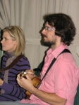 James Hill and Melanie Doane helping out the Maitland Ukulele Ensemble